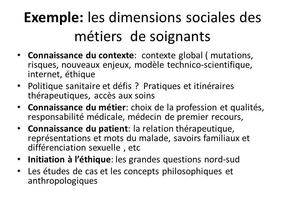 Exemple: les dimensions sociales des métiers de soignants Connaissance du contexte: contexte global ( mutations, risques, nouveaux enjeux, modèle technico-scientifique, internet, éthique Politique sanitaire et défis .