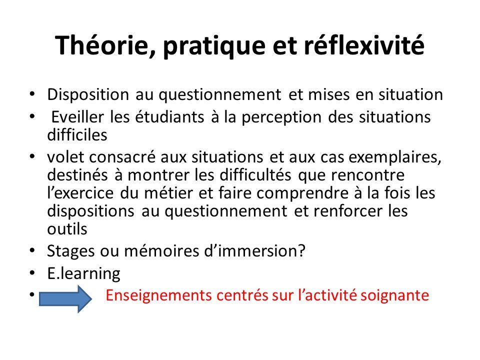 Théorie, pratique et réflexivité Disposition au questionnement et mises en situation Eveiller les étudiants à la perception des situations difficiles