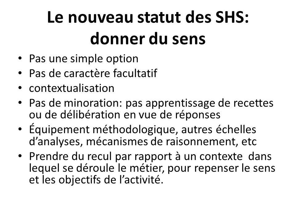 Le nouveau statut des SHS: donner du sens Pas une simple option Pas de caractère facultatif contextualisation Pas de minoration: pas apprentissage de