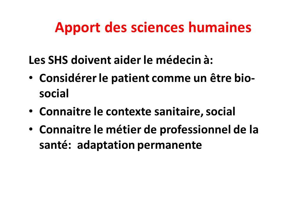 Apport des sciences humaines Les SHS doivent aider le médecin à: Considérer le patient comme un être bio- social Connaitre le contexte sanitaire, social Connaitre le métier de professionnel de la santé: adaptation permanente