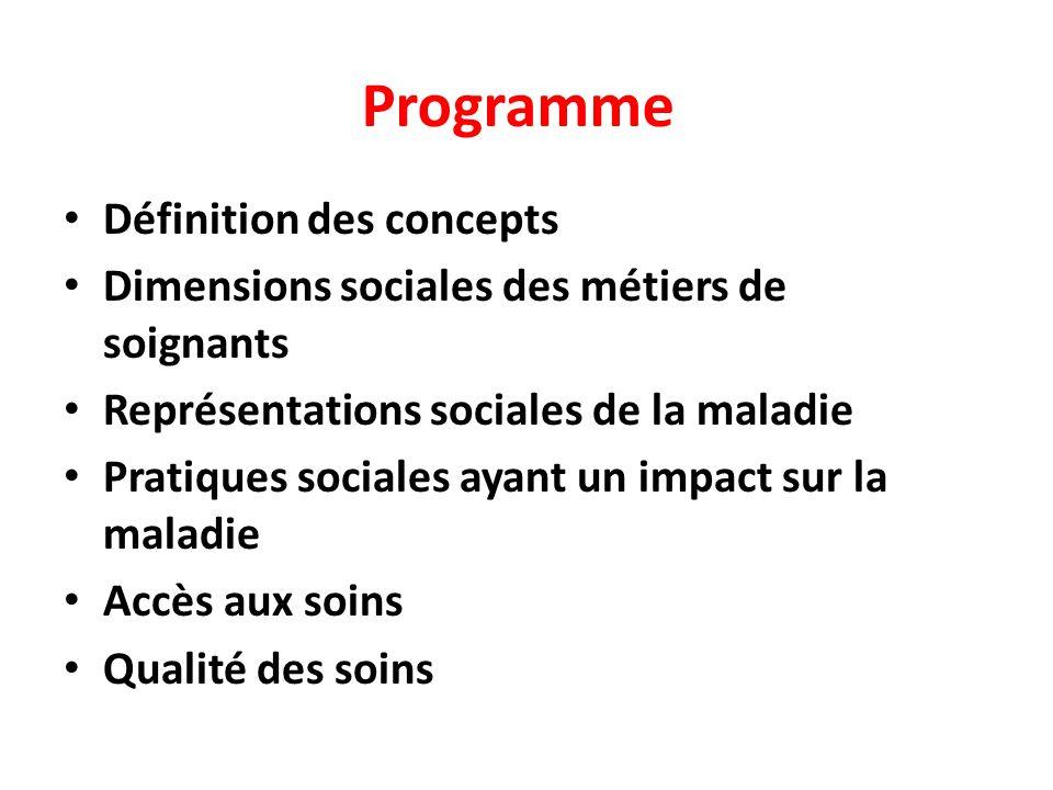 Programme Définition des concepts Dimensions sociales des métiers de soignants Représentations sociales de la maladie Pratiques sociales ayant un impact sur la maladie Accès aux soins Qualité des soins