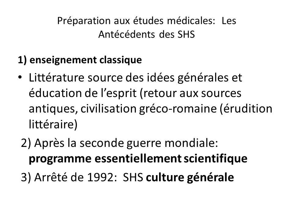 Préparation aux études médicales: Les Antécédents des SHS 1) enseignement classique Littérature source des idées générales et éducation de lesprit (re