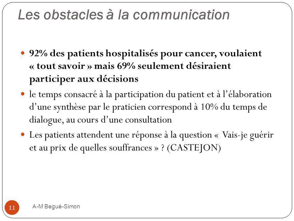 Les obstacles à la communication 92% des patients hospitalisés pour cancer, voulaient « tout savoir » mais 69% seulement désiraient participer aux déc