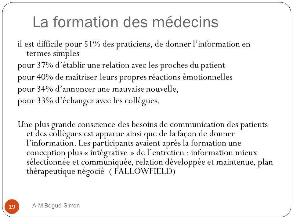 La formation des médecins il est difficile pour 51% des praticiens, de donner linformation en termes simples pour 37% détablir une relation avec les p