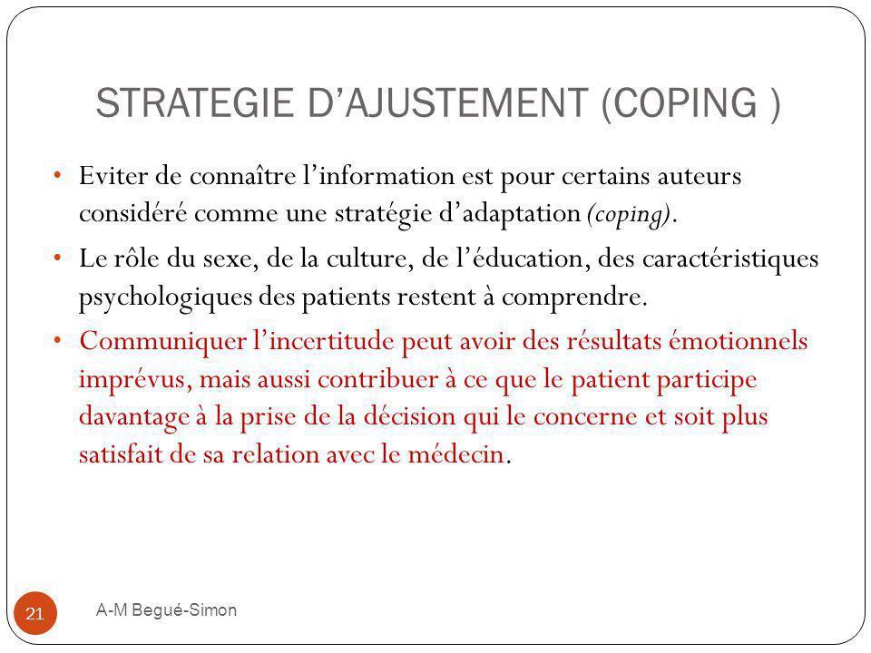 STRATEGIE DAJUSTEMENT (COPING ) Eviter de connaître linformation est pour certains auteurs considéré comme une stratégie dadaptation (coping). Le rôle