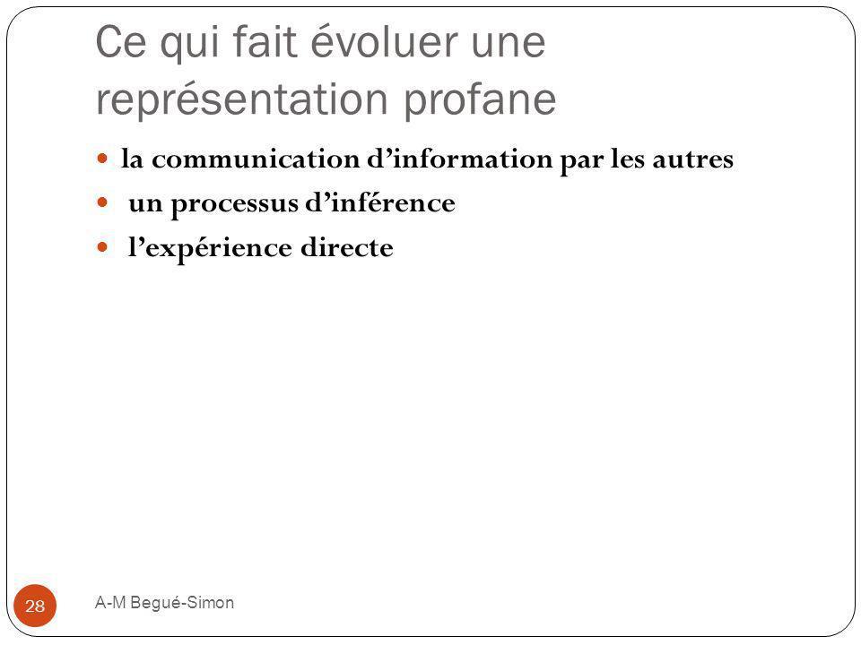Ce qui fait évoluer une représentation profane la communication dinformation par les autres un processus dinférence lexpérience directe 28 A-M Begué-S