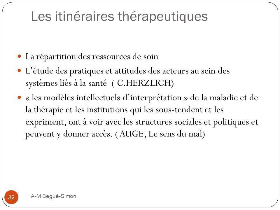 Les itinéraires thérapeutiques La répartition des ressources de soin Létude des pratiques et attitudes des acteurs au sein des systèmes liés à la sant