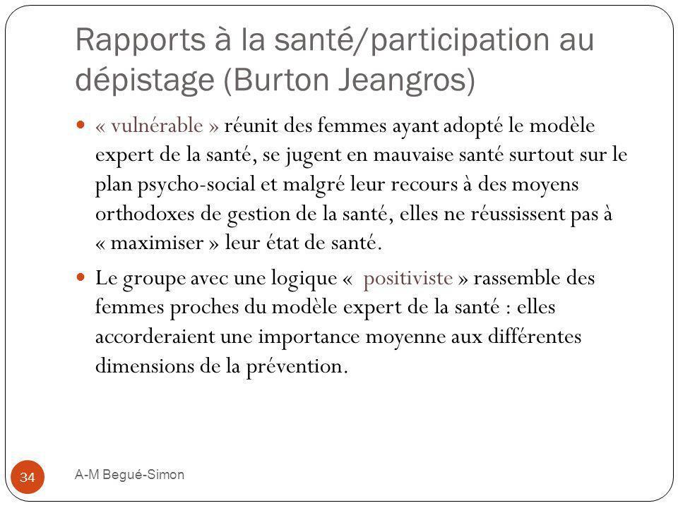 Rapports à la santé/participation au dépistage (Burton Jeangros) « vulnérable » réunit des femmes ayant adopté le modèle expert de la santé, se jugent