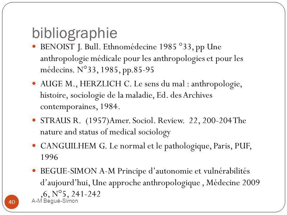 bibliographie BENOIST J. Bull. Ethnomédecine 1985 °33, pp Une anthropologie médicale pour les anthropologies et pour les médecins. N°33, 1985, pp.85-9