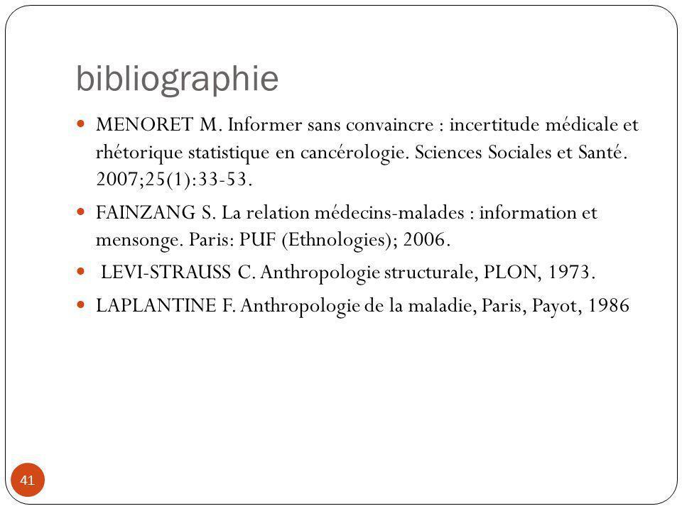 bibliographie MENORET M. Informer sans convaincre : incertitude médicale et rhétorique statistique en cancérologie. Sciences Sociales et Santé. 2007;2