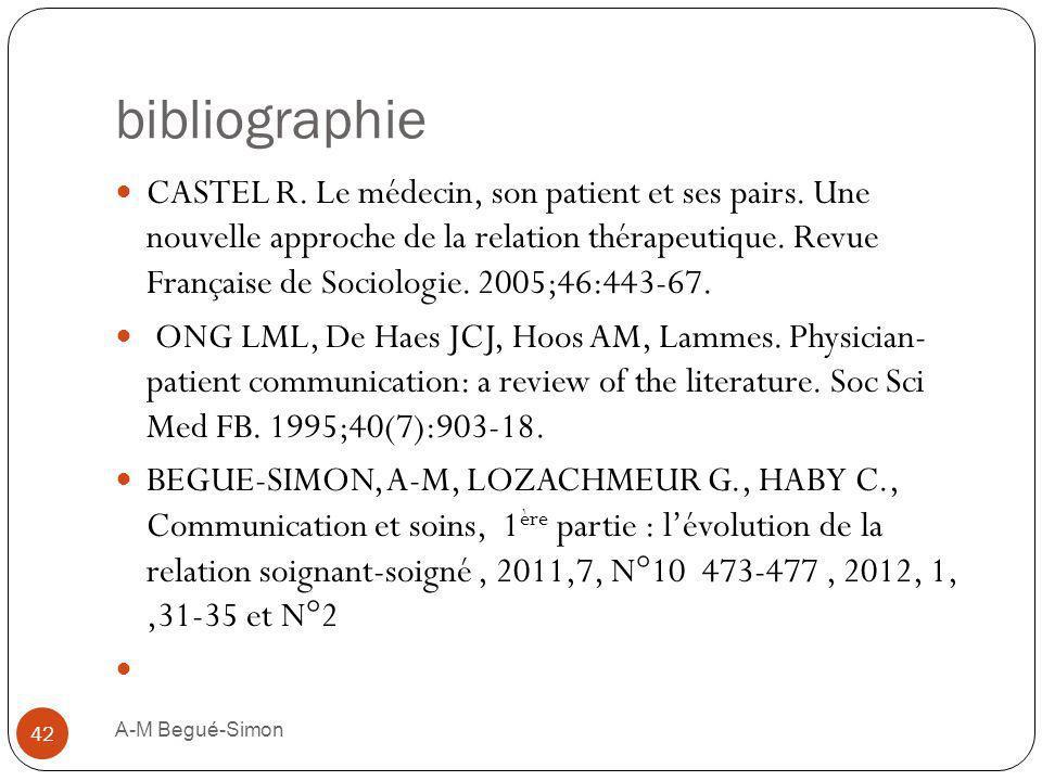 bibliographie CASTEL R. Le médecin, son patient et ses pairs. Une nouvelle approche de la relation thérapeutique. Revue Française de Sociologie. 2005;