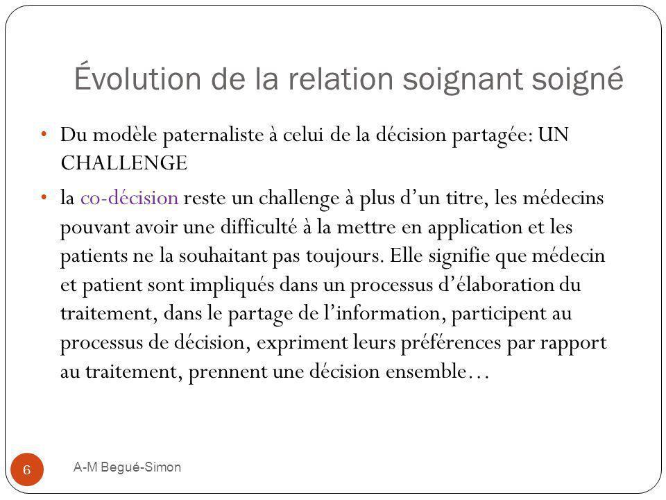 Évolution de la relation soignant soigné Du modèle paternaliste à celui de la décision partagée: UN CHALLENGE la co-décision reste un challenge à plus