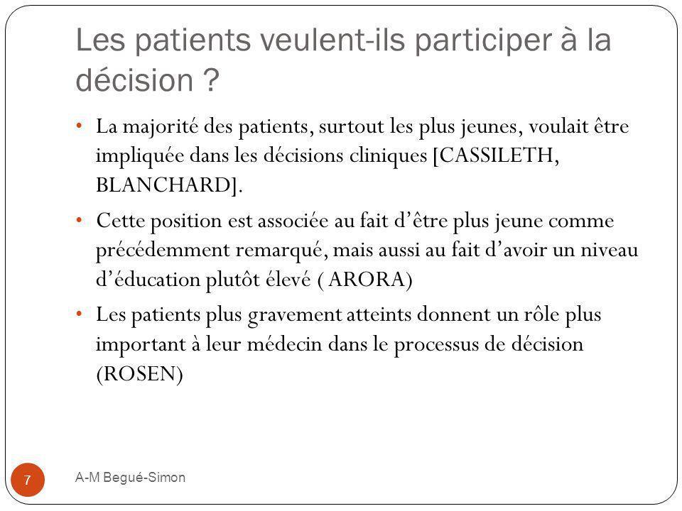 Les patients veulent-ils participer à la décision ? La majorité des patients, surtout les plus jeunes, voulait être impliquée dans les décisions clini