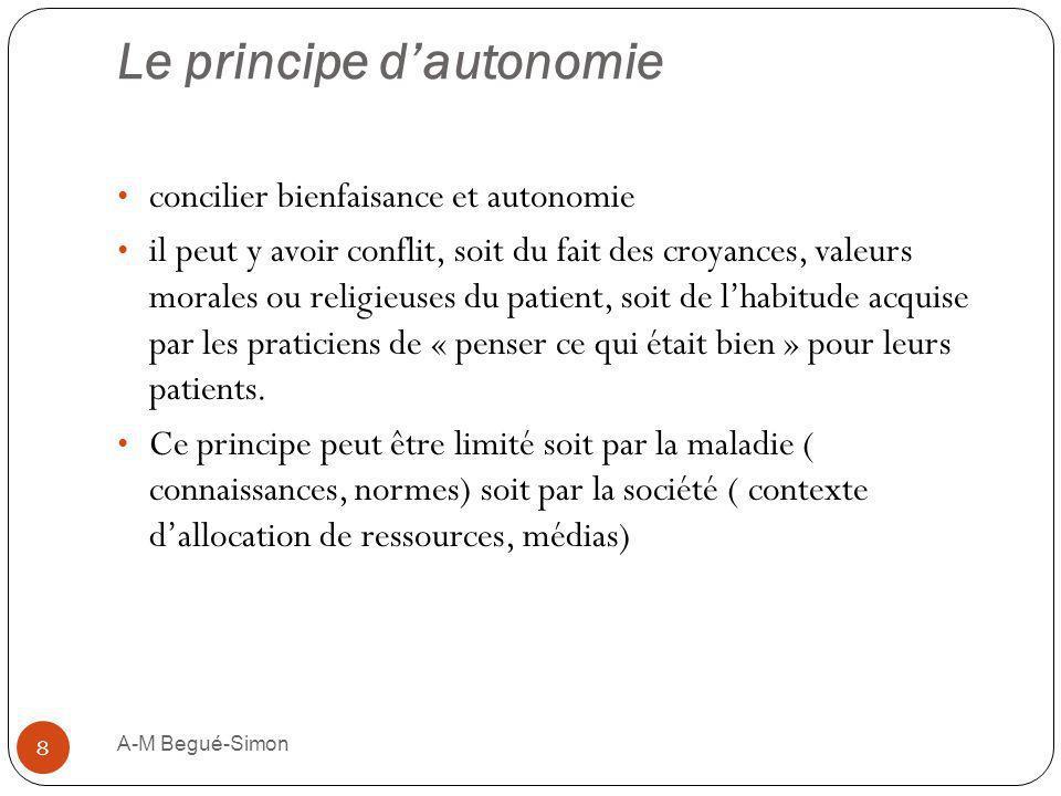 Le principe dautonomie concilier bienfaisance et autonomie il peut y avoir conflit, soit du fait des croyances, valeurs morales ou religieuses du pati