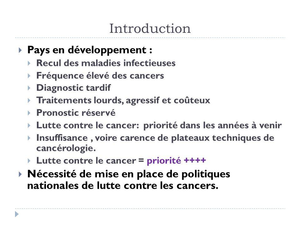 Introduction Pays en développement : Recul des maladies infectieuses Fréquence élevé des cancers Diagnostic tardif Traitements lourds, agressif et coû