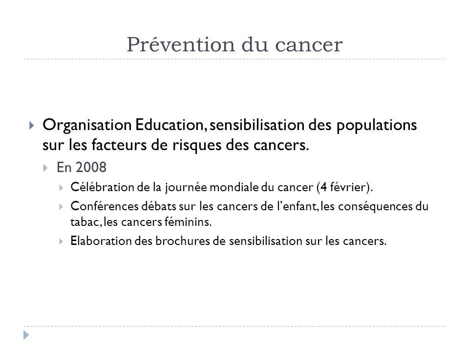 Prévention du cancer Organisation Education, sensibilisation des populations sur les facteurs de risques des cancers. En 2008 Célébration de la journé