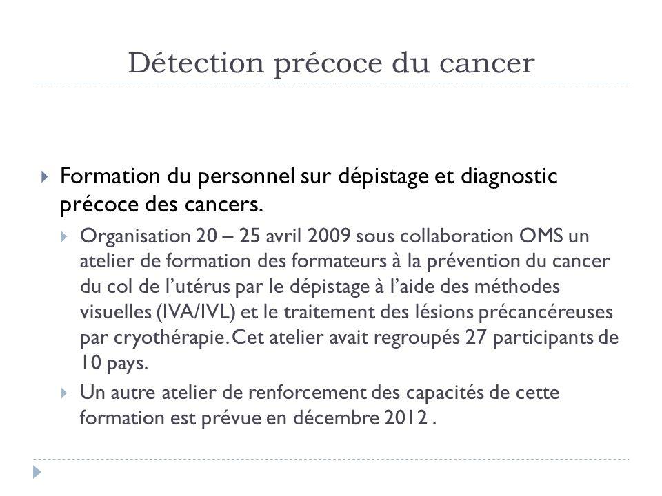 Détection précoce du cancer Formation du personnel sur dépistage et diagnostic précoce des cancers. Organisation 20 – 25 avril 2009 sous collaboration