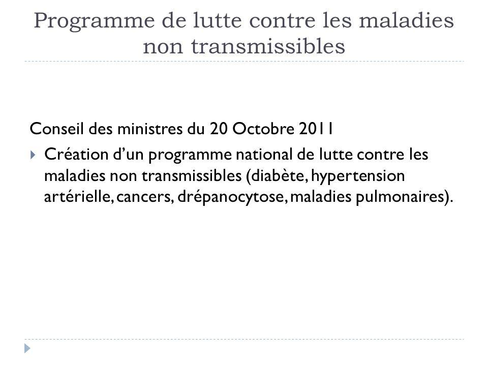 Programme de lutte contre les maladies non transmissibles Conseil des ministres du 20 Octobre 2011 Création dun programme national de lutte contre les