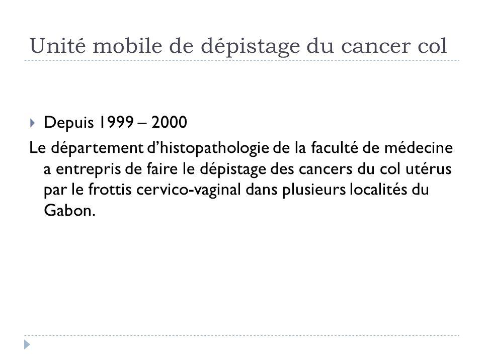 Unité mobile de dépistage du cancer col Depuis 1999 – 2000 Le département dhistopathologie de la faculté de médecine a entrepris de faire le dépistage
