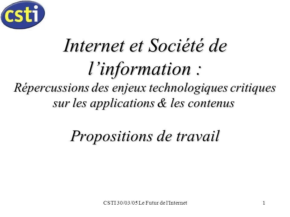 CSTI 30/03/05 Le Futur de l Internet12 Aspects Juridiques Propriété intellectuelle Sécurité des échanges & des transactions Protection des données personnelles Cybercriminalité Responsabilités des acteurs Harmonisation internationale & européenne Mise en œuvre des législations existantes