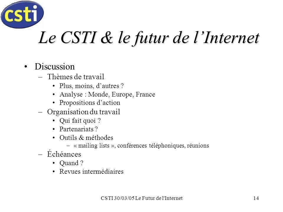 CSTI 30/03/05 Le Futur de l Internet14 Le CSTI & le futur de lInternet Discussion –Thèmes de travail Plus, moins, dautres .