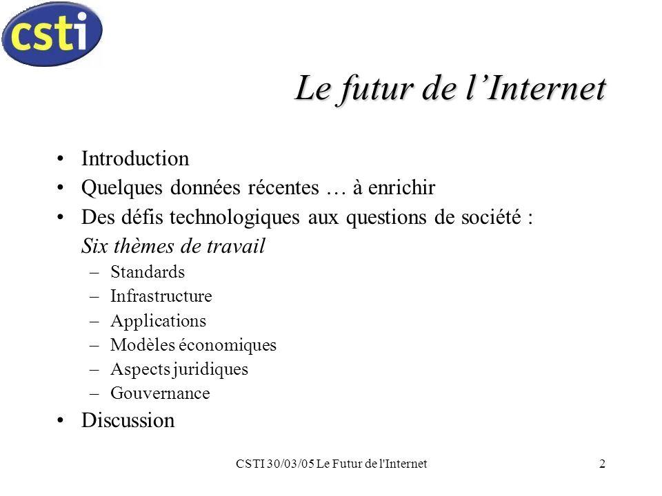 CSTI 30/03/05 Le Futur de l Internet3 Introduction Internet : développement & déploiement –« Let millions of flowers blossom .