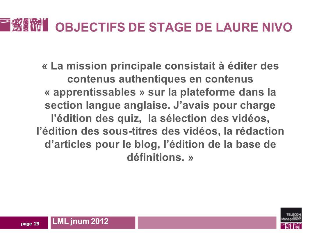 OBJECTIFS DE STAGE DE LAURE NIVO page 29 « La mission principale consistait à éditer des contenus authentiques en contenus « apprentissables » sur la plateforme dans la section langue anglaise.