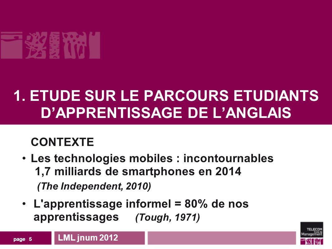1. ETUDE SUR LE PARCOURS ETUDIANTS DAPPRENTISSAGE DE LANGLAIS LML jnum 2012 page 5 CONTEXTE Les technologies mobiles : incontournables 1,7 milliards d
