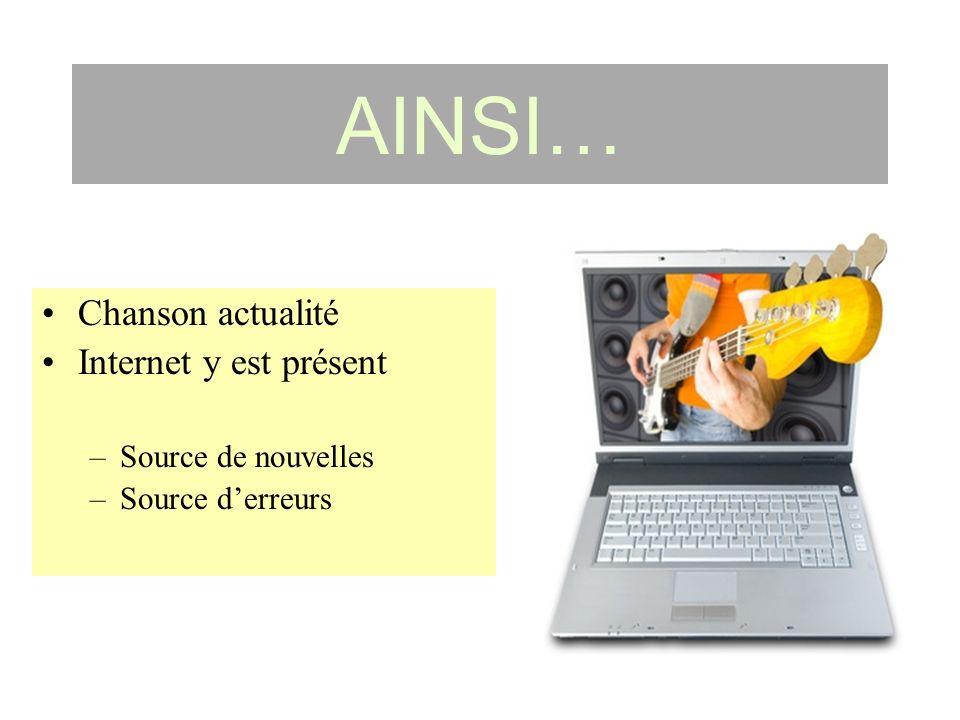 AINSI… Chanson actualité Internet y est présent –Source de nouvelles –Source derreurs