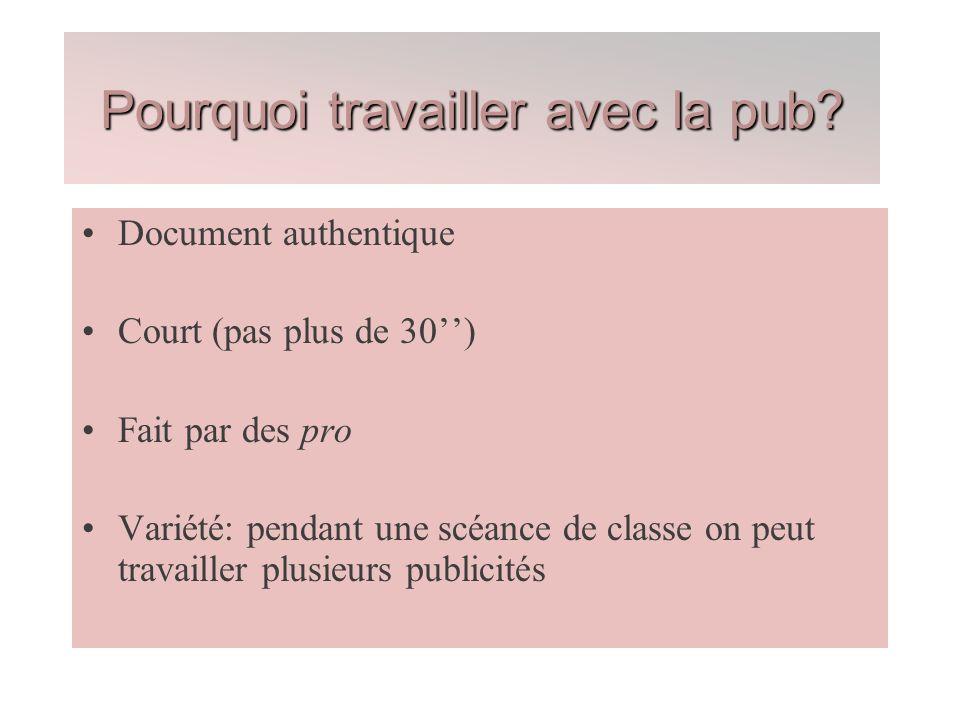 Document authentique Court (pas plus de 30) Fait par des pro Variété: pendant une scéance de classe on peut travailler plusieurs publicités Pourquoi t