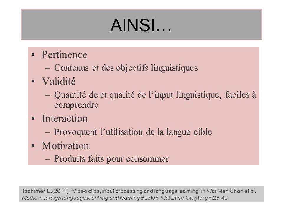 AINSI… Pertinence –Contenus et des objectifs linguistiques Validité –Quantité de et qualité de linput linguistique, faciles à comprendre Interaction –