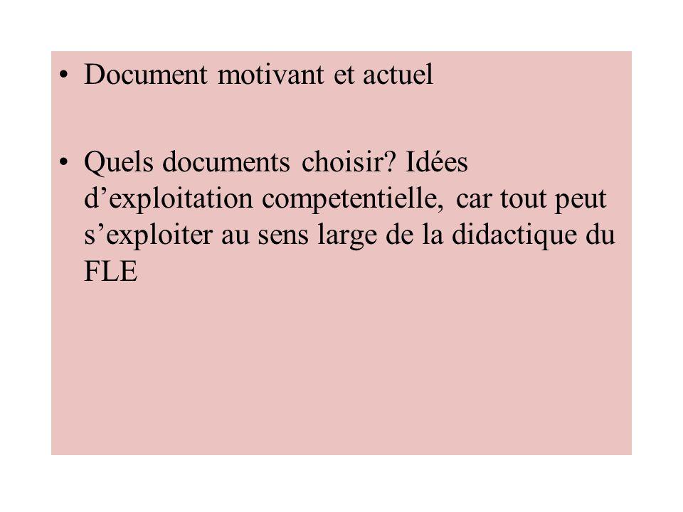 Document motivant et actuel Quels documents choisir? Idées dexploitation competentielle, car tout peut sexploiter au sens large de la didactique du FL
