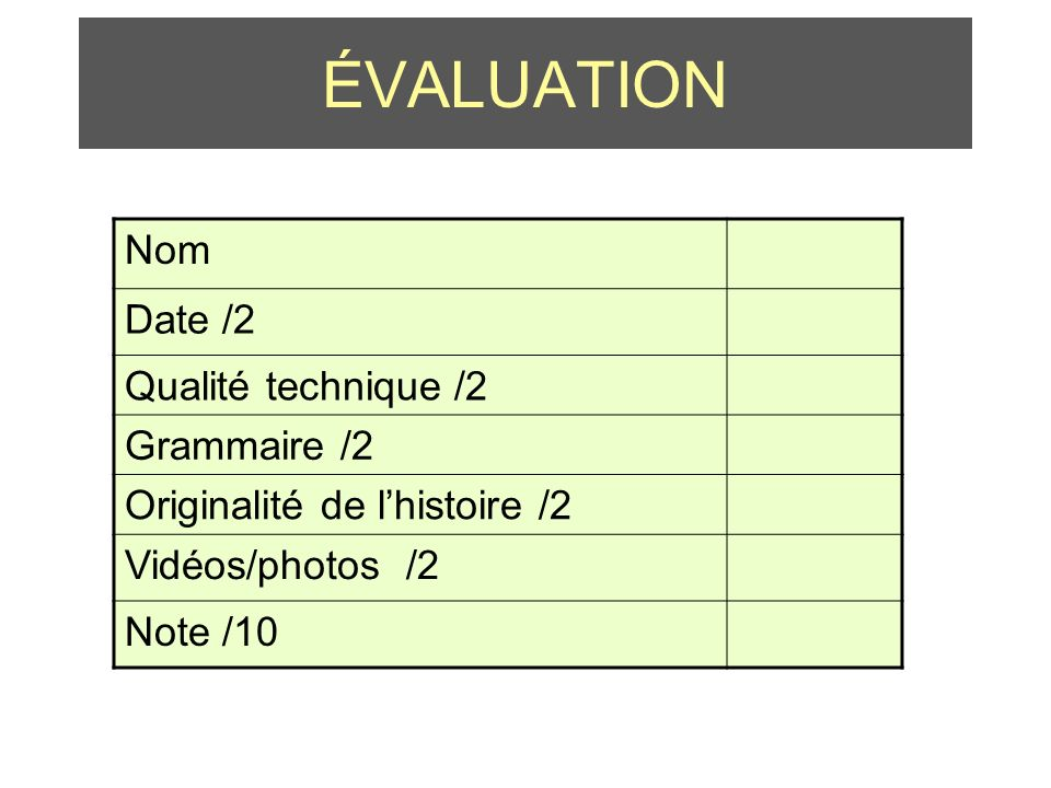 ÉVALUATION Nom Date /2 Qualité technique /2 Grammaire /2 Originalité de lhistoire /2 Vidéos/photos /2 Note /10