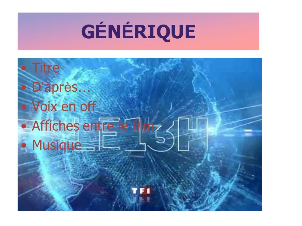 G É N É RIQUE Titre D apr è s … Voix en off Affiches entre le film Musique