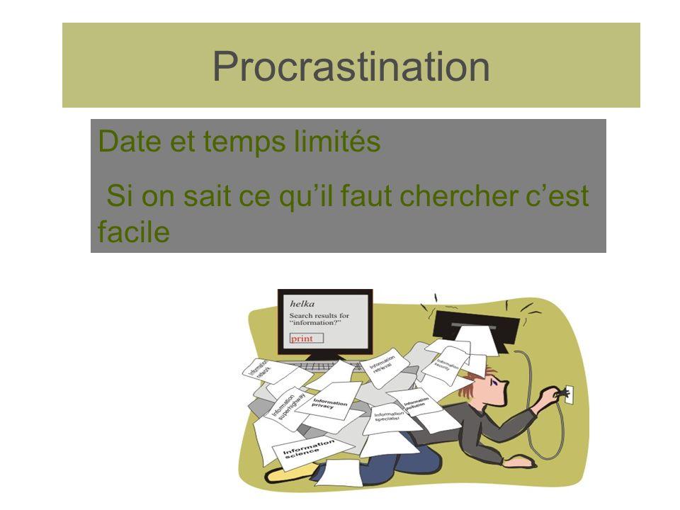 Procrastination Date et temps limités Si on sait ce quil faut chercher cest facile