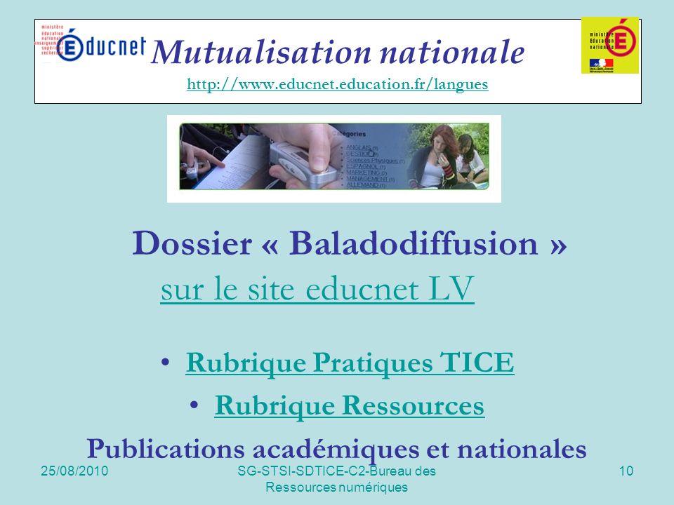 25/08/2010SG-STSI-SDTICE-C2-Bureau des Ressources numériques 10 Mutualisation nationale http://www.educnet.education.fr/langues http://www.educnet.education.fr/langues Dossier « Baladodiffusion » sur le site educnet LV sur le site educnet LV Rubrique Pratiques TICE Rubrique Ressources Publications académiques et nationales