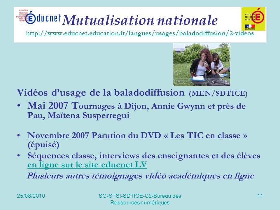 25/08/2010SG-STSI-SDTICE-C2-Bureau des Ressources numériques 11 Mutualisation nationale http://www.educnet.education.fr/langues/usages/baladodiffusion/2-videos http://www.educnet.education.fr/langues/usages/baladodiffusion/2-videos Vidéos dusage de la baladodiffusion (MEN/SDTICE) Mai 2007 T ournages à Dijon, Annie Gwynn et près de Pau, Maïtena Susperregui Novembre 2007 Parution du DVD « Les TIC en classe » (épuisé) Séquences classe, interviews des enseignantes et des élèves en ligne sur le site educnet LV en ligne sur le site educnet LV Plusieurs autres témoignages vidéo académiques en ligne