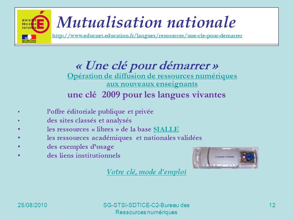25/08/2010SG-STSI-SDTICE-C2-Bureau des Ressources numériques 12 Actions spécifiques « Une clé pour démarrer » Opération de diffusion de ressources num