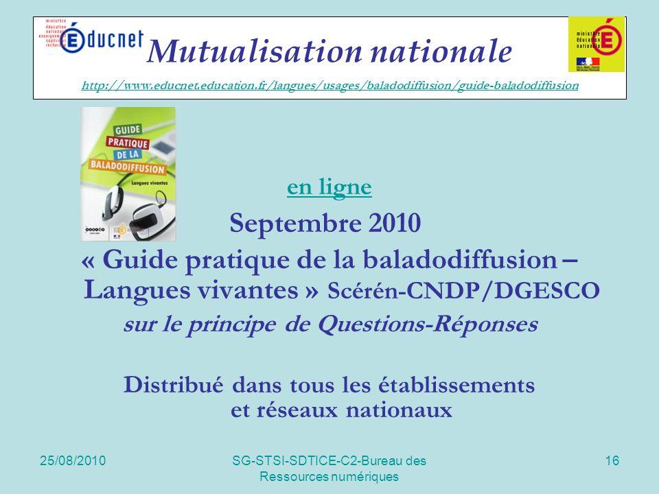 25/08/2010SG-STSI-SDTICE-C2-Bureau des Ressources numériques 16 Mutualisation nationale http://www.educnet.education.fr/langues/usages/baladodiffusion