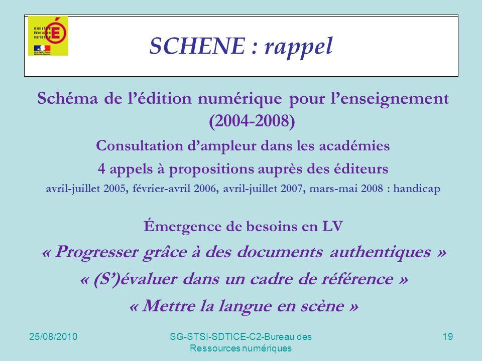 25/08/2010SG-STSI-SDTICE-C2-Bureau des Ressources numériques 19 Projet SCHENE Schéma de lédition numérique pour lenseignement (2004-2008) Consultation dampleur dans les académies 4 appels à propositions auprès des éditeurs avril-juillet 2005, février-avril 2006, avril-juillet 2007, mars-mai 2008 : handicap Émergence de besoins en LV « Progresser grâce à des documents authentiques » « (S)évaluer dans un cadre de référence » « Mettre la langue en scène » SCHENE : rappel