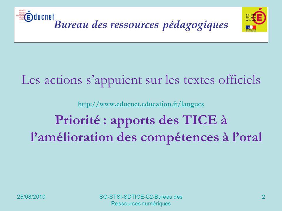 25/08/2010SG-STSI-SDTICE-C2-Bureau des Ressources numériques 2 Bureau des ressources pédagogiques Les actions sappuient sur les textes officiels http:
