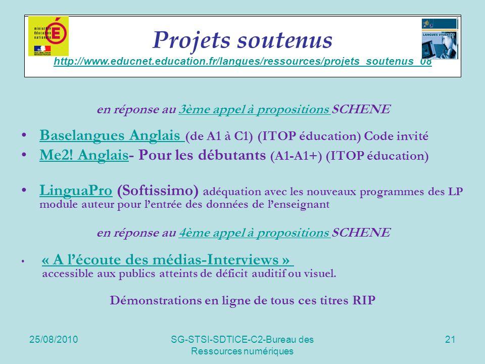 25/08/2010SG-STSI-SDTICE-C2-Bureau des Ressources numériques 21 Soutien de projets en réponse au 3ème appel à propositions SCHENE3ème appel à propositions Baselangues Anglais (de A1 à C1) (ITOP éducation) Code invitéBaselangues Anglais Me2.