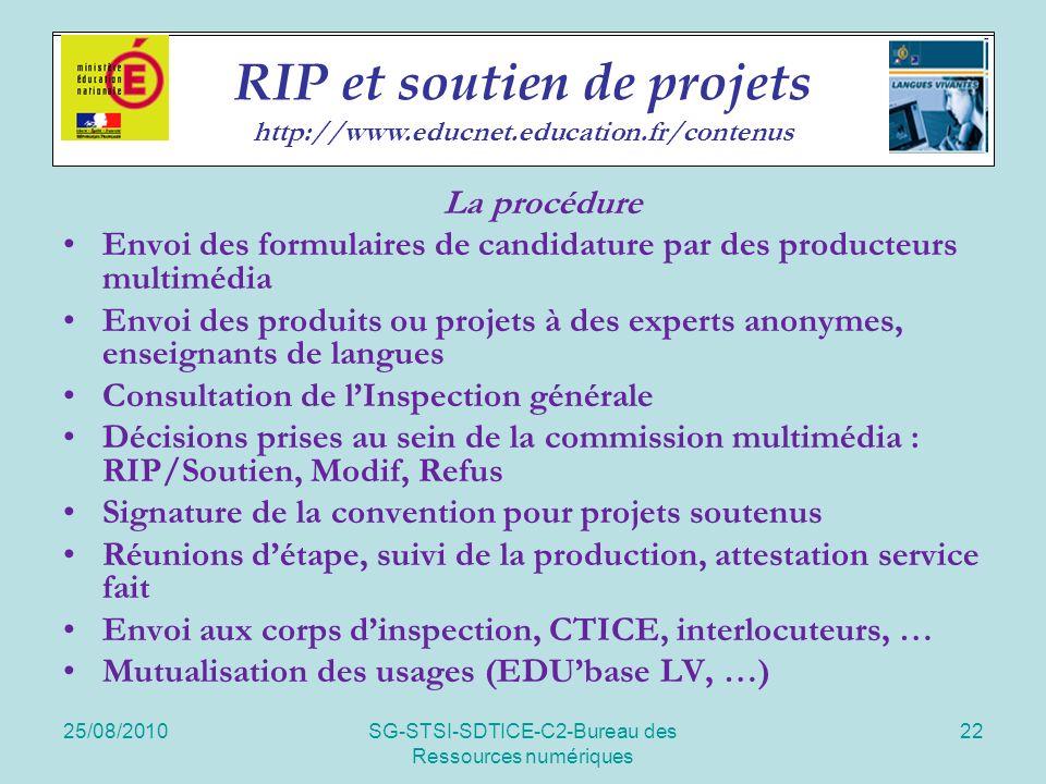 25/08/2010SG-STSI-SDTICE-C2-Bureau des Ressources numériques 22 Soutien de projets La procédure Envoi des formulaires de candidature par des producteu