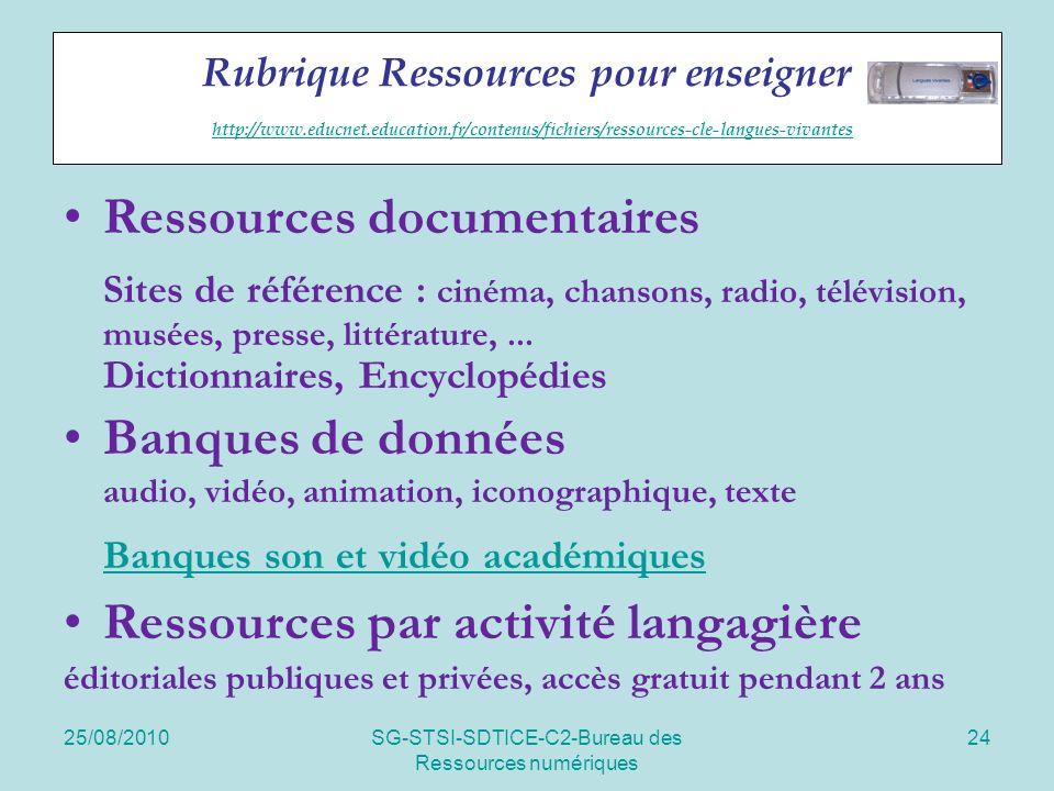 25/08/2010SG-STSI-SDTICE-C2-Bureau des Ressources numériques 24 Rubrique Ressources pour enseigner http://www.educnet.education.fr/contenus/fichiers/r
