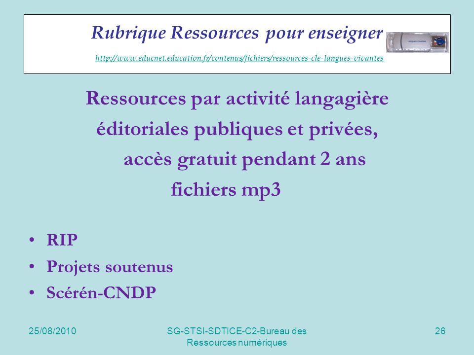 25/08/2010SG-STSI-SDTICE-C2-Bureau des Ressources numériques 26 Rubrique Ressources pour enseigner http://www.educnet.education.fr/contenus/fichiers/ressources-cle-langues-vivantes http://www.educnet.education.fr/contenus/fichiers/ressources-cle-langues-vivantes Ressources par activité langagière éditoriales publiques et privées, accès gratuit pendant 2 ans fichiers mp3 RIP Projets soutenus Scérén-CNDP