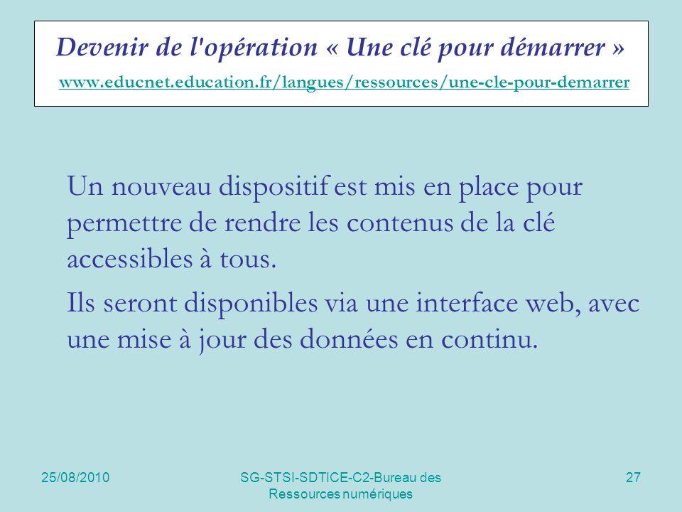 25/08/2010SG-STSI-SDTICE-C2-Bureau des Ressources numériques 27 Devenir de l'opération « Une clé pour démarrer » www.educnet.education.fr/langues/ress
