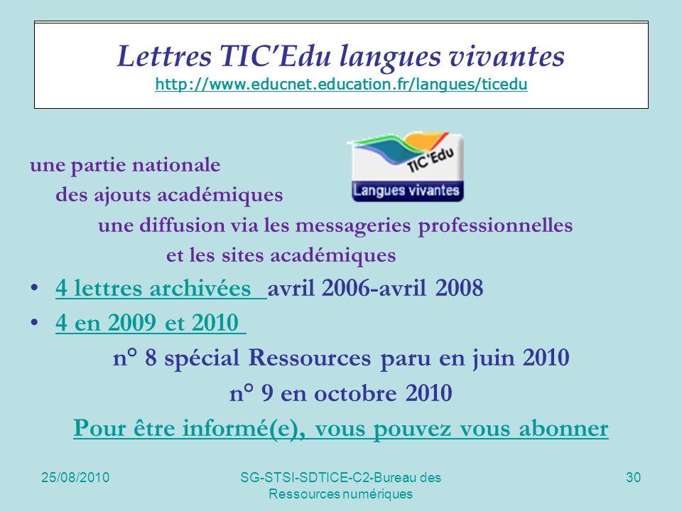 25/08/2010SG-STSI-SDTICE-C2-Bureau des Ressources numériques 30 Lettres TICEdu une partie nationale des ajouts académiques une diffusion via les messageries professionnelles et les sites académiques 4 lettres archivées avril 2006-avril 20084 lettres archivées 4 en 2009 et 2010 n° 8 spécial Ressources paru en juin 2010 n° 9 en octobre 2010 Pour être informé(e), vous pouvez vous abonner Lettres TICEdu langues vivantes http://www.educnet.education.fr/langues/ticedu http://www.educnet.education.fr/langues/ticedu