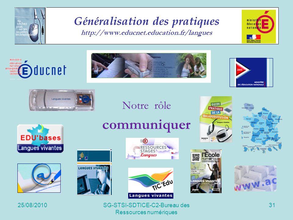 25/08/2010SG-STSI-SDTICE-C2-Bureau des Ressources numériques 31 Généralisation des pratiques http://www.educnet.education.fr/langues Notre rôle communiquer