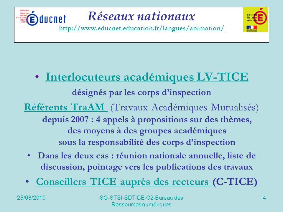 25/08/2010SG-STSI-SDTICE-C2-Bureau des Ressources numériques 5 Réseaux nationaux http://www.educnet.education.fr/langues/ressources http://www.educnet.education.fr/langues/ressources Experts RIP et projets soutenusRIPprojets soutenus recommandés par les corps dinspection Liste de diffusion Toutes langues Anonymat