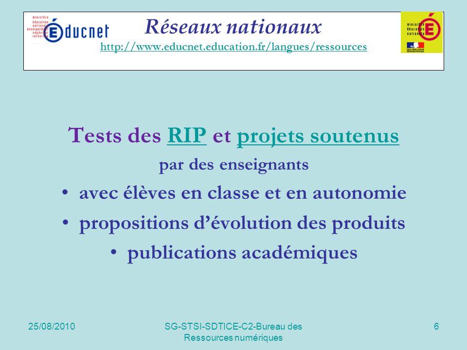 25/08/2010SG-STSI-SDTICE-C2-Bureau des Ressources numériques 6 Réseaux nationaux http://www.educnet.education.fr/langues/ressources http://www.educnet